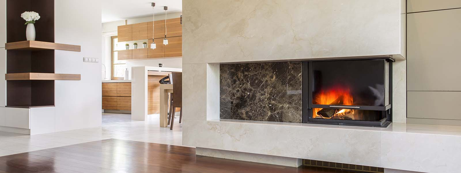A fireplace that runs off of gas. It is not a significant source of heat.
